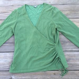Ann Taylor Green Wrap blouse with ruching & beads